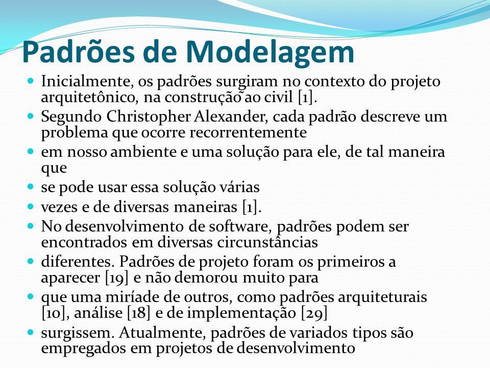 Padrões de Modelagem Inicialmente, os padrões surgiram no contexto do projeto arquitetônico, na construção ̃ao civil [1].
